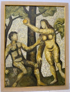 "Vintage ""Adam and Eve"" Original Oil Painting by Sam C.1970"