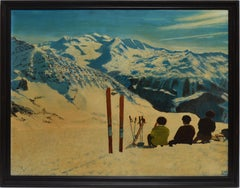 Vintage American Impressionist Winter Mountain Ski Trip Signed Oil Painting
