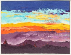 Vintage American Mid Century Modern Sunset Mountain Signed Abstract Oil Painting