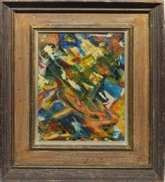 Vintage American Modernist Abstract Expressionist Signed Oil Painting
