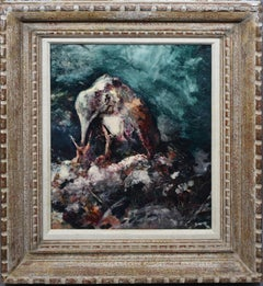Vintage American Modernist Bird Feeding Nature Study Oil Painting