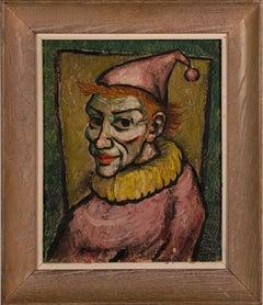 Vintage American Modernist Clown Portrait Oil Painting