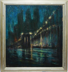 "Vintage American Modernist Oil Painting, ""Brooklyn Bridge at Night"" by Falcone"