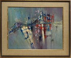 Vintage American Modernist School, Abstract Oil Painting of the Brooklyn Bridge