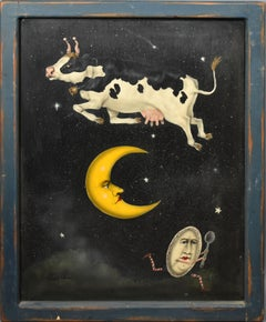Vintage American Modernist Surreal Allegorical Cow Jumping the Moon Oil Painting