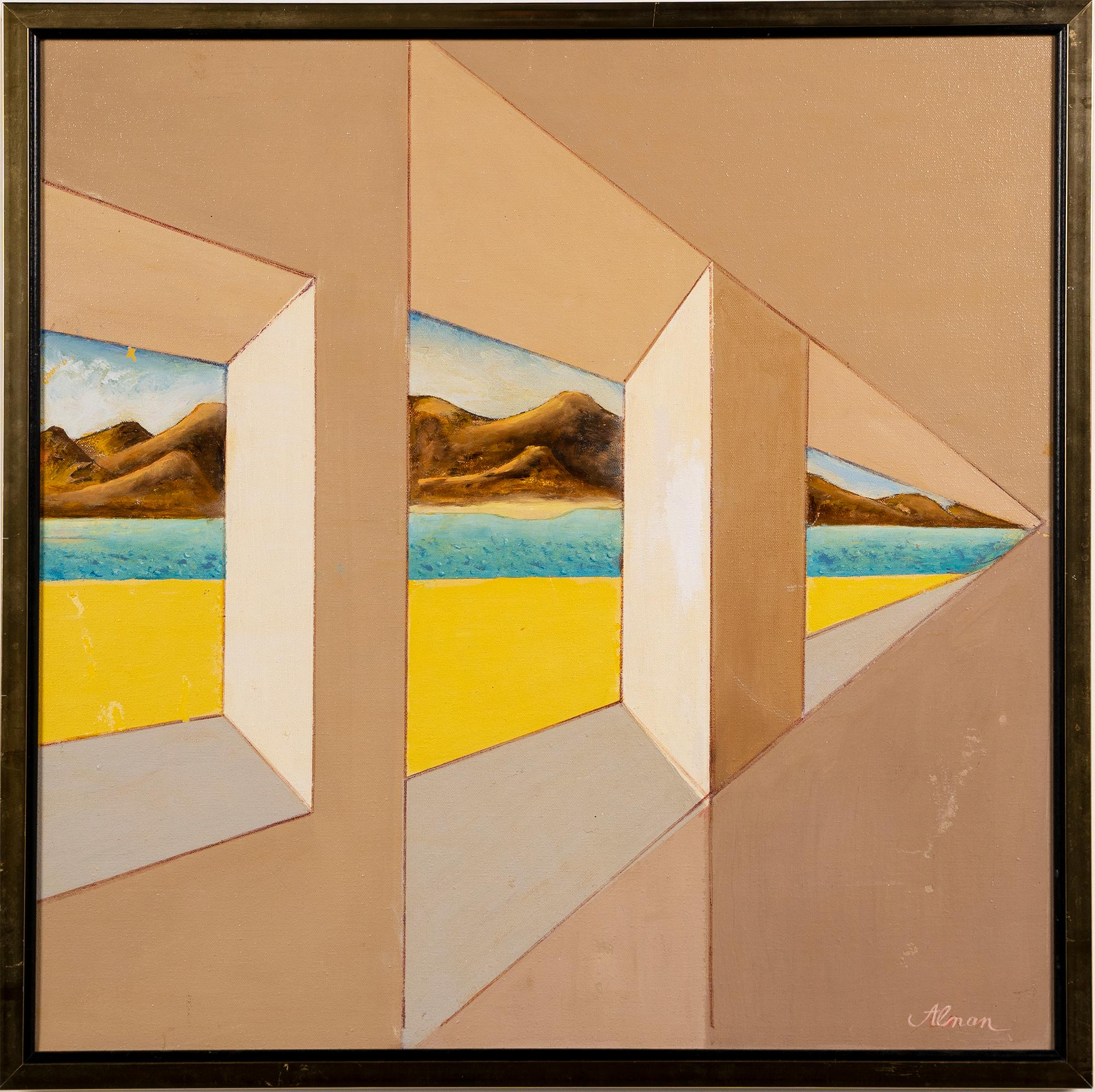 Vintage American Pop Art Trompe L'oeil Window Opening Beach Abstract Painting