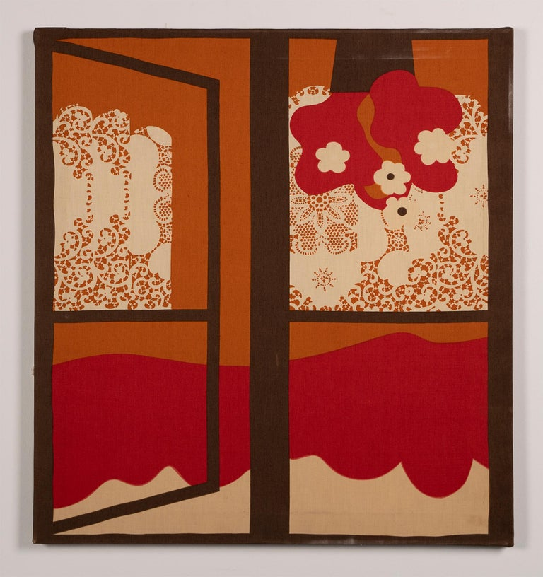 Vintage American Pop Art Trompe L'oeil Window Opening Flower Abstract Painting For Sale 1
