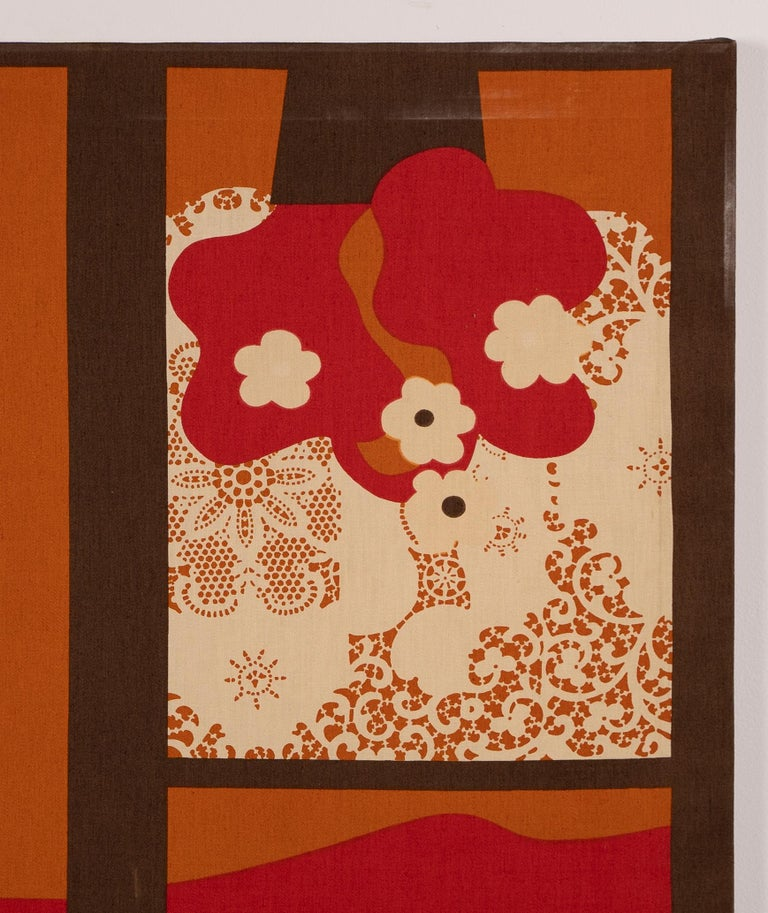 Vintage American Pop Art Trompe L'oeil Window Opening Flower Abstract Painting For Sale 3