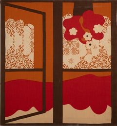 Vintage American Pop Art Trompe L'oeil Window Opening Flower Abstract Painting