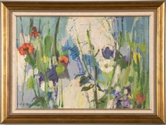 Vintage American School Modernist Flower Still Life Signed Framed Oil Painting