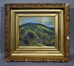 Vintage American School Modernist Mountain Landscape Signed Original Painting