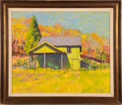 Vintage American School Modernist Old Lyme Connecticut New England Oil Painting