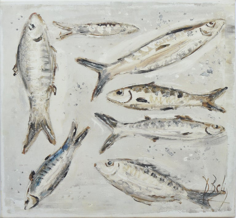 Vintage American School Modernist Still Life of Anchovy Fish in Black and White - Painting by Unknown