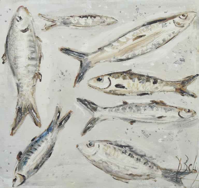 Vintage American School Modernist Still Life of Anchovy Fish in Black and White - Gray Still-Life Painting by Unknown