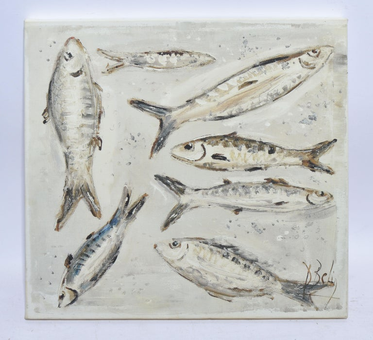 Unknown Still-Life Painting - Vintage American School Modernist Still Life of Anchovy Fish in Black and White