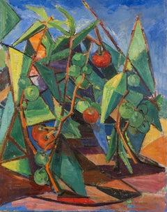 Vintage American School Modernist Tomato Garden Still Life Cubist Oil Painting