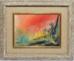 Vintage American School Surreal Landscape Oil Painting Signed Louis