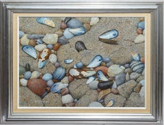 Vintage American School Trompe L'Oeil Beach Shell Still Life Signed Oil Painting