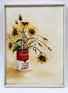Vintage American Still Life Wild Flowers Campbells Soup Can Framed Signed