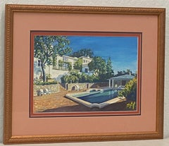 "Vintage ""Backyard Pool"" Original Gouache Painting by Dosne"
