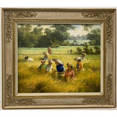 "Vintage ""Bali Rice Fields"" Original Oil Painting c.1989"