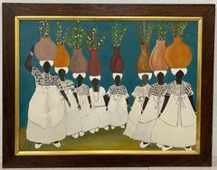 "Vintage Brazilian ""Bahia"" Original Acrylic Painting C.1950"