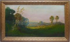 Vintage California Sunset Valley Signed Landscape Oil Painting