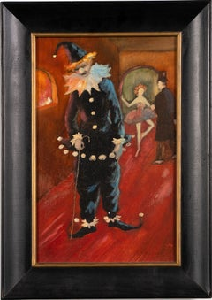 """Vintage Clown Comedy """"The Loser"""" Genre Scene Interior Signed Oil Painting"""