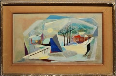 Vintage Cubist Modern Abstracted Landscape Oil Painting