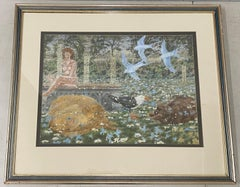 Vintage Day Dream Landscape With Nude, Cats & Birds by Morgan 20th C