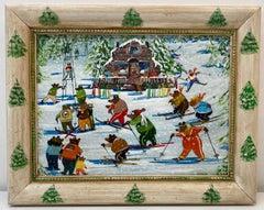 Vintage Folk Art Bears on the Slopes Original Oil Painting 20th C.