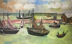 VINTAGE FRENCH 1970'S OIL - FISHING BOATS IN OLD HARBOUR - BLUE/GREEN COLOURS