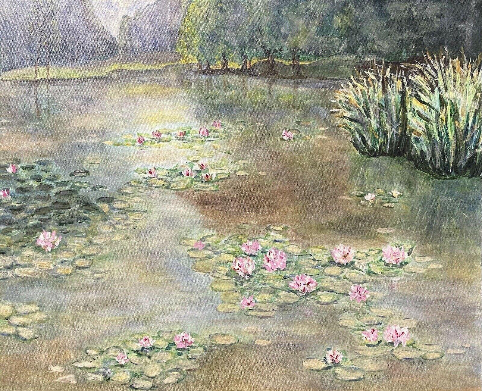 VINTAGE FRENCH IMPRESSIONIST LARGE OIL ON CANVAS - WATERLILY POND LES NYMPHEAS