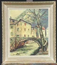 VINTAGE FRENCH MID CENTURY OIL PAINTING - OLD FRENCH TOWN BRIDGE & RIVER - FRAME