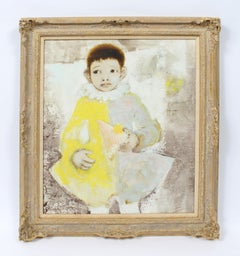 Vintage French Modern Paris School Portrait of Young Clown Signed Oil Painting