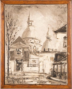 Vintage French Modern Street Scene Paris Church Original Grisaille Oil Painting