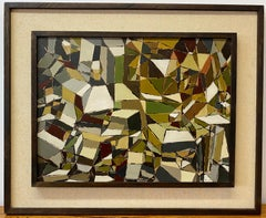 Vintage Geometric Abstract Oil Painting by Bennett C.1961