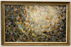 Vintage Geometric Abstract Oil Painting Signed Heliker C.1940s