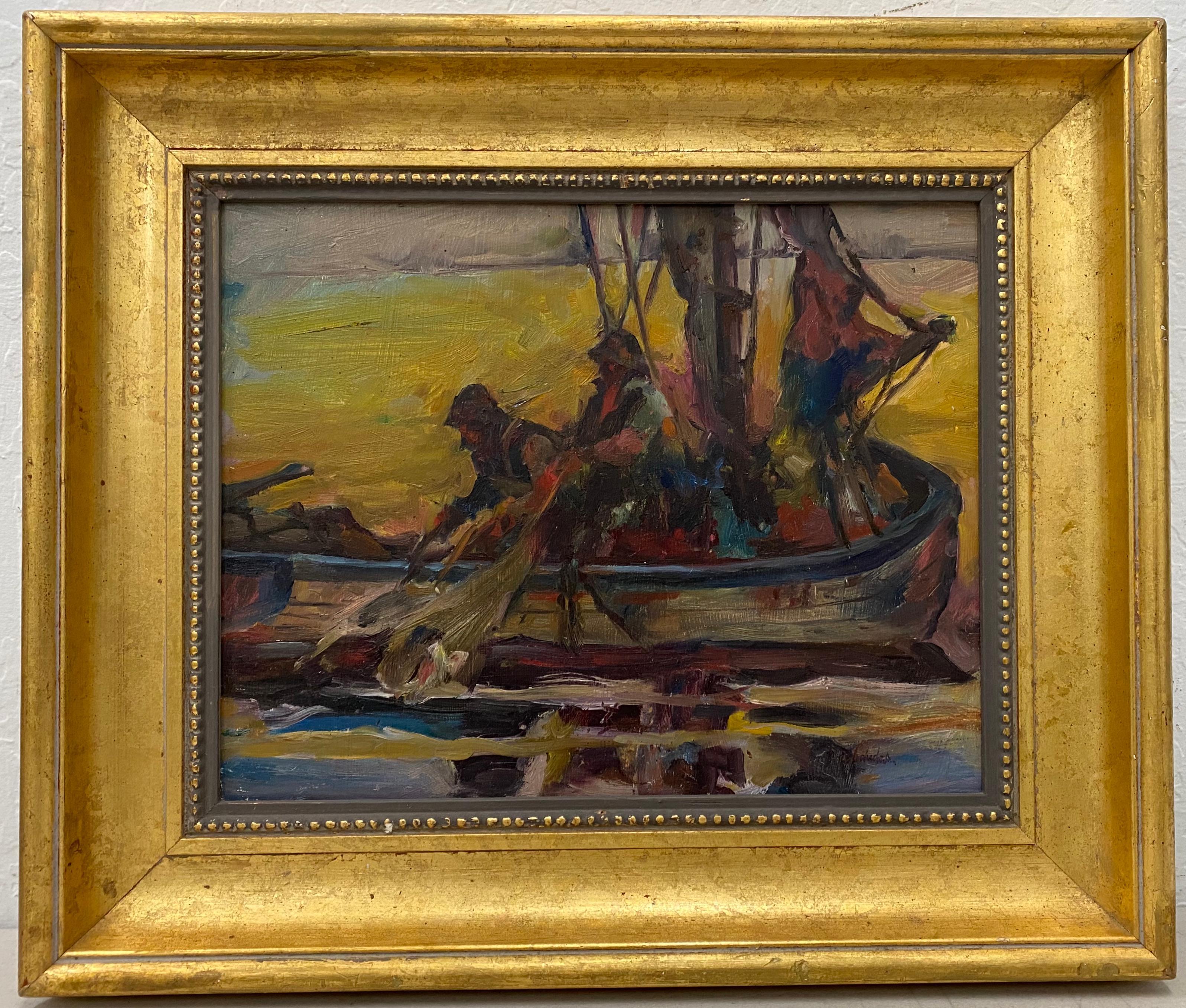 """Vintage Impressionist """"Fisherman"""" Oil Painting 20th C."""