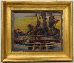 "Vintage Impressionist ""Fisherman"" Oil Painting 20th C."
