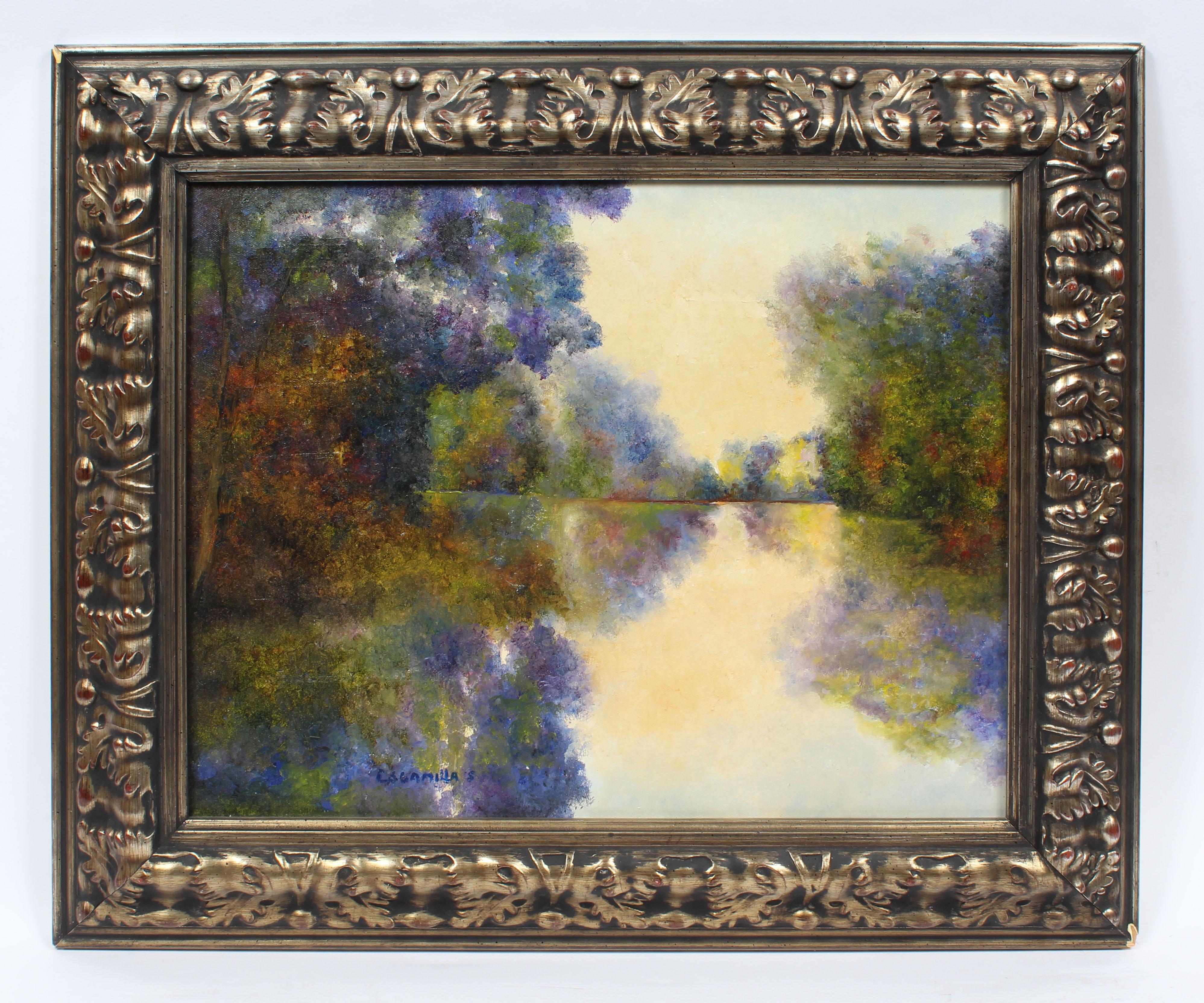 Vintage Impressionist Flower Filled River Southern School Original Oil Painting
