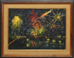 Vintage Impressionist Oil Painting of the New York 4th of July Firework Show