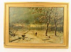 French  Impressionist Winter Snow 1920's Landscape  Painting
