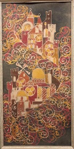 Vintage Israeli Kibbutz Folk Art Silk Batik Painting Jerusalem Maskit, Bezalel