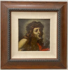 Vintage Jesus of Nazareth Original Oil Portrait 20th Century