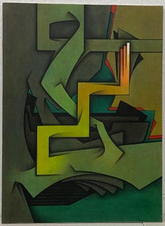 """Vintage """"Le Geste Immobile"""" Abstract Oil Painting c.1981"""