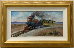 "Albert Tolf  ""Locomotive Steam Engine No. 7"" Original Oil Painting 20th C."