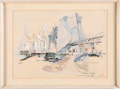 Vintage Mid Century Modern New York Cityscape Signed Painting Brooklyn Bridge