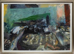 Vintage Modernist Abstract Cityscape Oil Painting