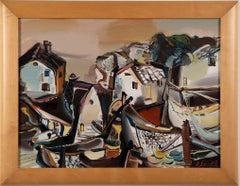 Vintage Modernist Abstract Surrealist Seascape Signed Original Oil Painting